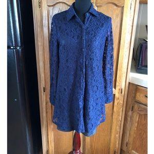 BB Dakota Blue Lace Mini Shirt Dress Medium